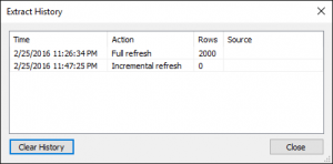 BI connector - Refresh data window