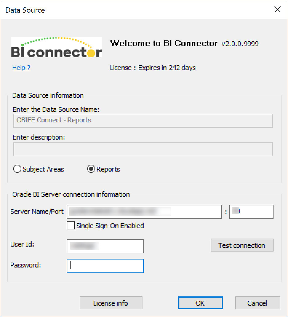 BI connector - Data source window