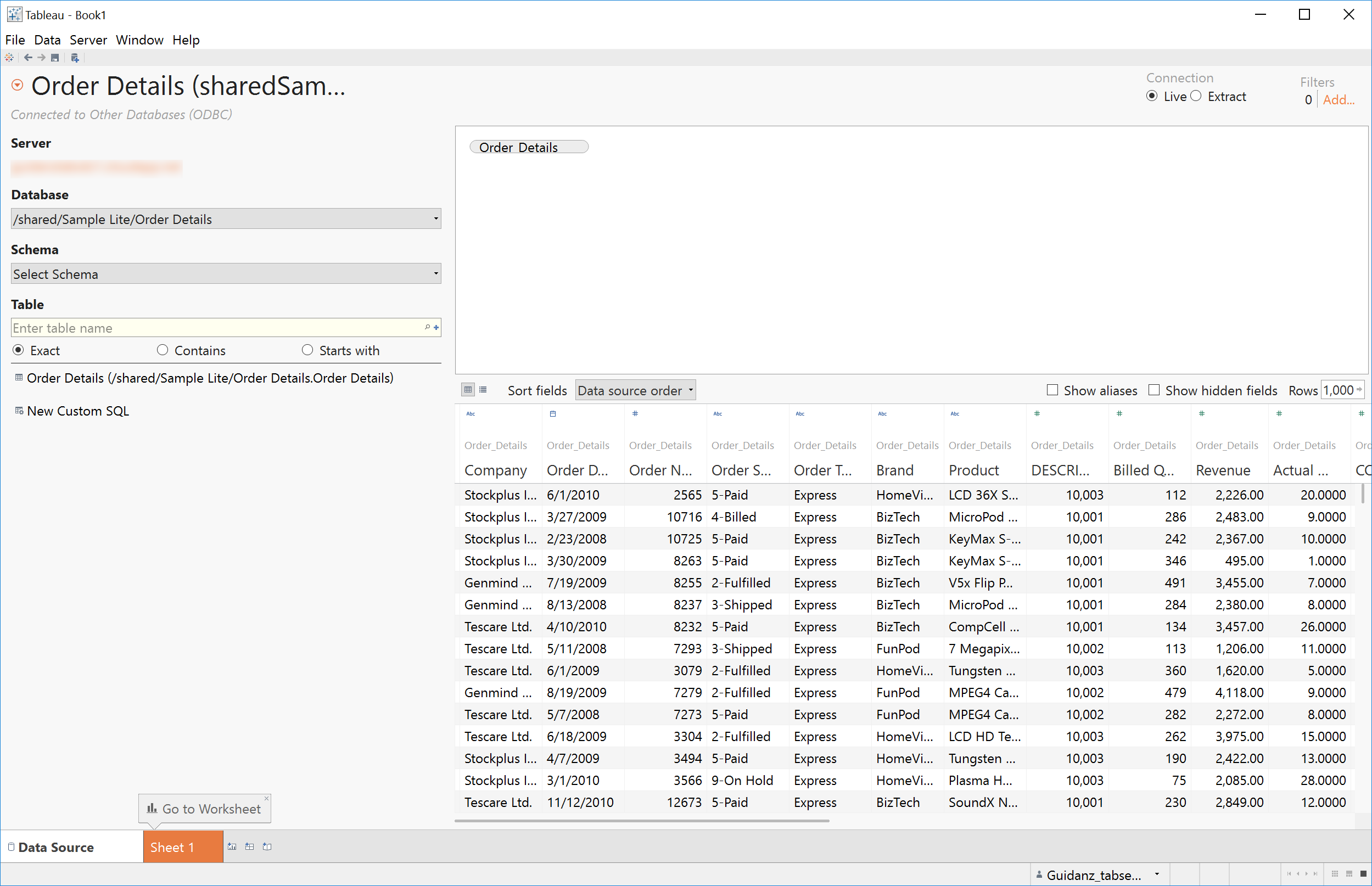BI connector - Obiee reports appear as table in Tableau