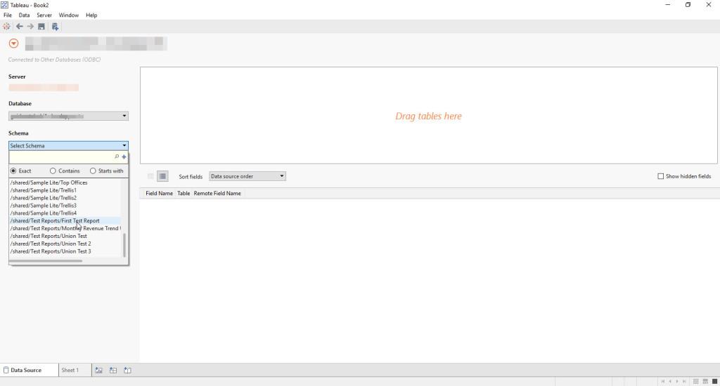 BI connector - Select Obiee reports under schema pull-down list in Tableau workbook