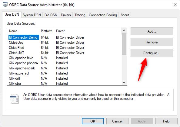 Configure DSN