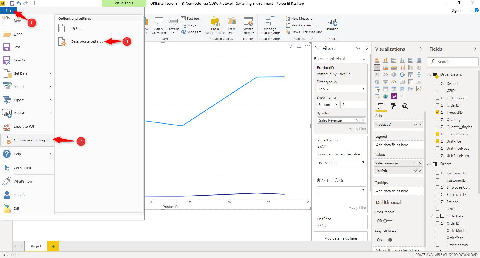 File Options and settings Data Source Settings Navigation Power BI