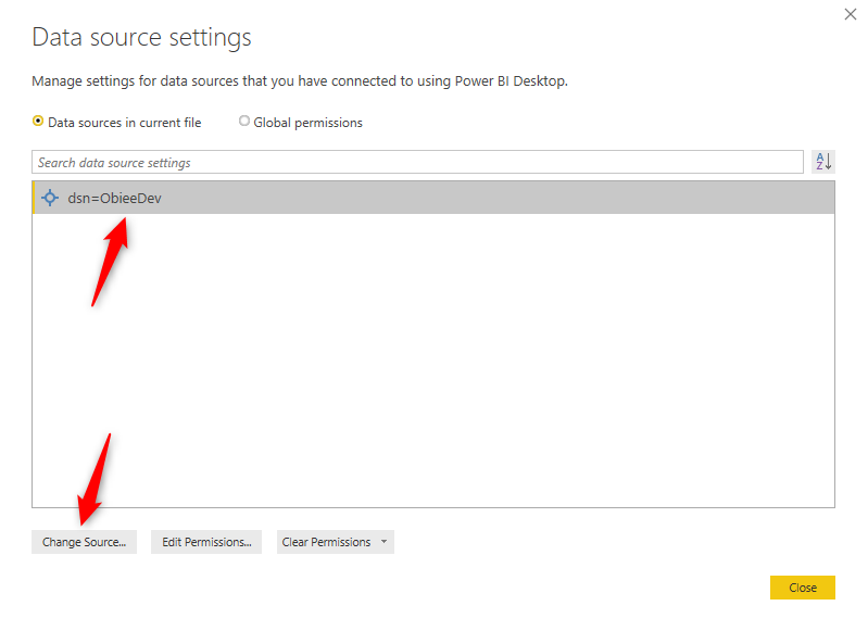 Select DSN and click Change Source Power BI