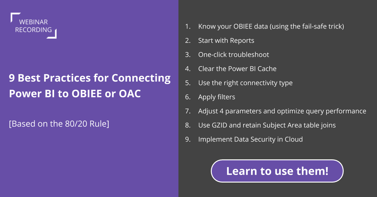Best practices Power BI OBIEE Connectivity